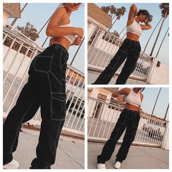 Hirigin kobiety proste dżinsy wysokiej talii duża kieszeń luźny dżins spodnie spodnie Lady moda Casual biegaczy kobieta Streetwear tanie i dobre opinie Poliester Pełnej długości CN (pochodzenie) Jeans Na co dzień Stripe Przycisk fly Kieszenie REGULAR light