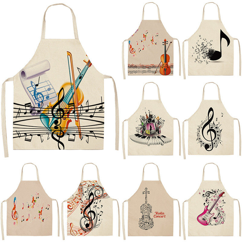 Musicial Note Guitar Piano Kitchen Aprons Women Cotton Linen Bibs Household Cleaning Pinafore Home Cooking Apron 53*65cm WQL0141