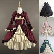 Женское винтажное платье с бантом готическое в средневековом