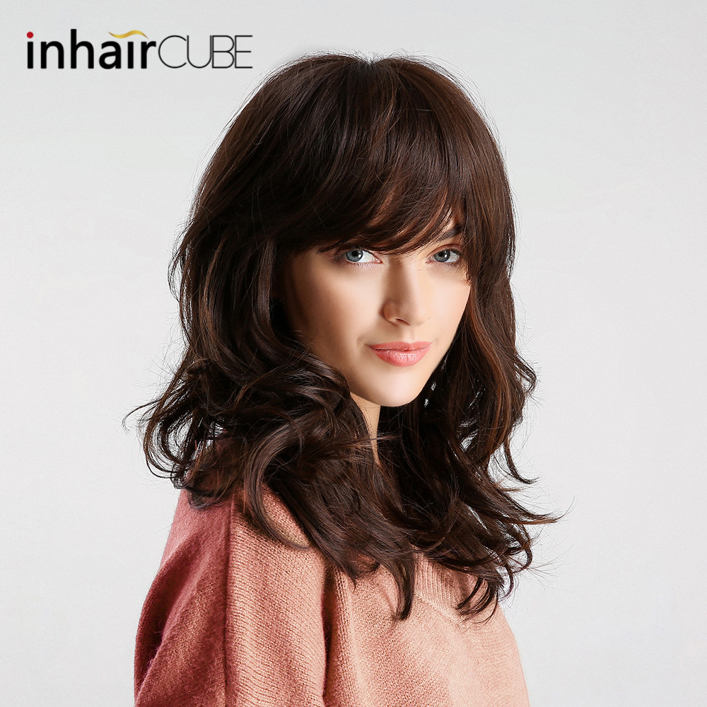 Inhair Cube Body Wave Long Wig Ombre Dark Brown Hair Synthetic Wigs Realistic With Bangs Natural Style