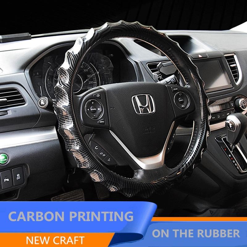 Protector para volante de coche de masaje con impresión de carbono, funda para volante de verano, fundas para manillar, accesorios interiores universales