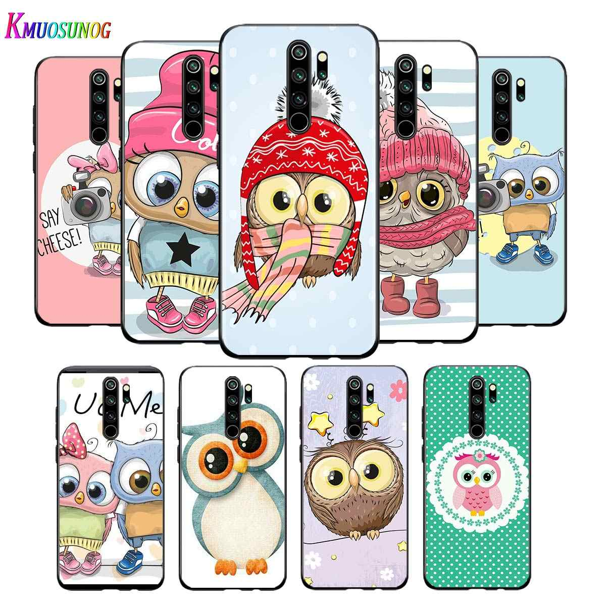 For Xiaomi Redmi Note 9 9S Max Phone Case Cute Owl Hearts Lover Back For Xiaomi 8T 8 7 6 5 Pro 5A 4X 4 Black Phone Cover