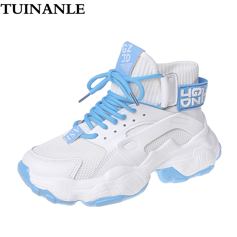 TUINANLE High Top Sock Breathable Sneakers Autumn Spring Womens Shoes PU Chunky Ladies Shoes White Sneakers Soft Lightweight