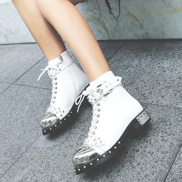CuddlyIIPanda Autumn Luxury Design Punk Style Metal Rivets Women Motorcycle Boots Square Toe Locomotive Boots Large Size 35-43 5