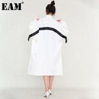 EAM-vestido largo con cordón para mujer, vestido blanco con solapa nueva, manga larga, corte holgado, tendencia, primavera y otoño, 2021, 1Z867