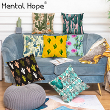 Tropical Cactus Printed Cushion Cover Linen Cotton Flower Pattern Throw Pillow Cover Home Decor Living Room Square Pillowcase dreamcatcher printed decorative cushion cover linen cotton feather pattern throw pillow cover home decor square pillowcase