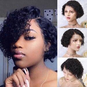13x6 pixie corte peruca frente do laço perucas de cabelo humano 150% remy brasileiro pré arrancado linha fina nós ondulado preto natural barato