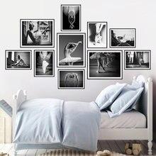 Балетные танцоры Настенная картина черная белая Картина на холсте