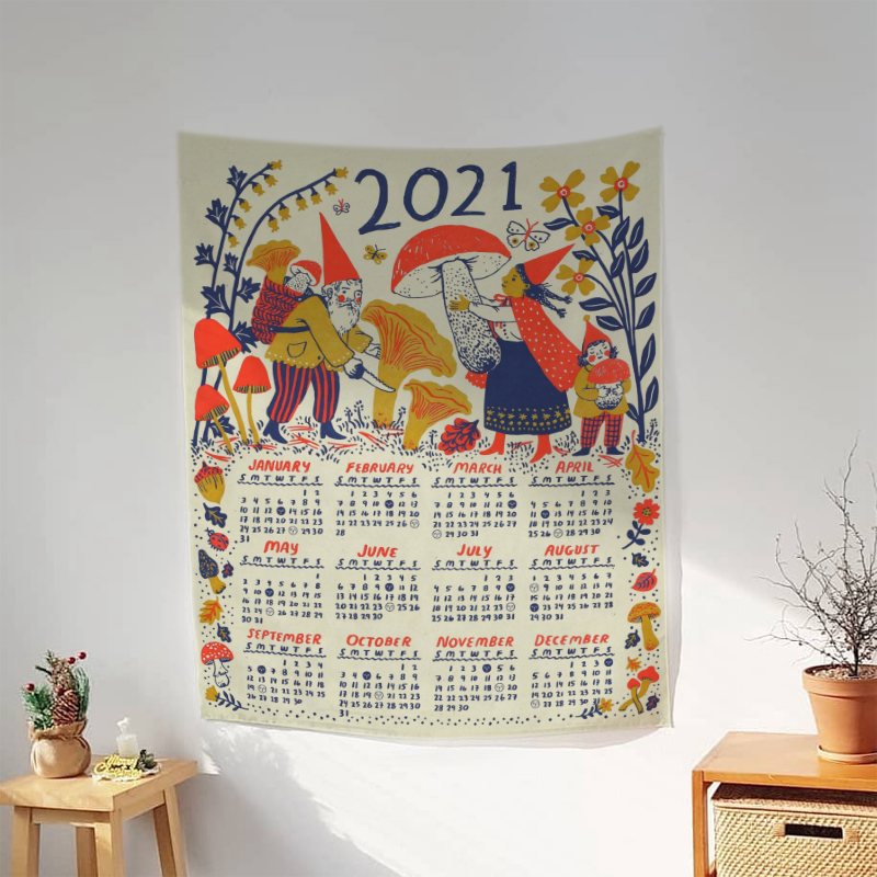 Calendar Tapestry Witchcraft Boho Decor Aesthetic Room Decor Art Wall Hanging Tapestries Decoration Chambre  Background Cloth