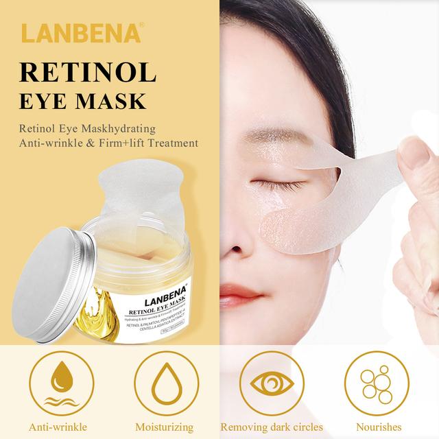 LANBENA Buy 3 Get 1 Gift Retinol Eye Mask Reduces Eye Bags Lines Dark Circles Eye Patches Firming  3PCS+Whitening Essential Oil