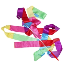 4m Gym Dance Ribbon Rhythmic Art Gymnastic Streamer Twirling Rod Stick