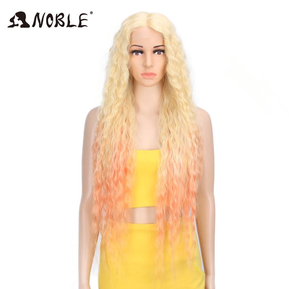 Asil saç sentetik peruk dantel ön sentetik peruk uzun kıvırcık Ombre sarışın peruk 38 inç 613 amerikan sentetik dantel ön peruk