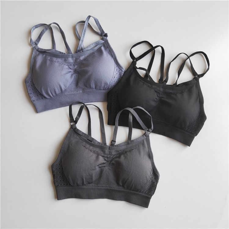 Trajes deportivos sexys conjunto de Yoga sin costuras ropa deportiva para mujer Leggings de gimnasio acolchados push-up tirantes Sujetador deportivo