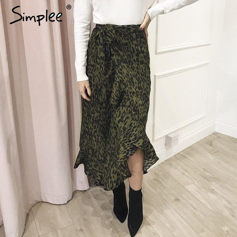 Simplee Leopard Print Women Maxi Skirt Elegant High Waist Side Bow Tie Female Long Skirt Autumn Ruffled Asymmetrical Lady Skirts