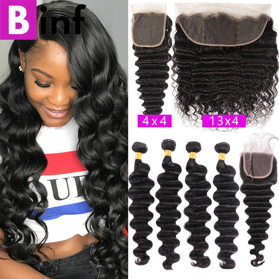 Loose Deep Wave Bundles with Closure 8-28 Inch Frontal With Bundles Brazilian 100% Remy Human Hair 3/4 Bundles With Closure
