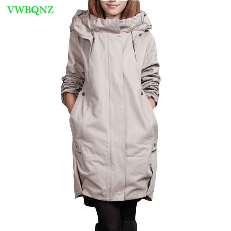 Plus size Windbreaker coat Women Add Cotton Loose Long   Trench   coats Women's Korean Casual Hooded Cardigan Gray Overcoats A217
