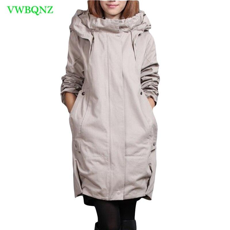 Plus size casaco Corta-vento das Mulheres Adicionar Algodão Solto Longo Trench coats Mulheres Coreano Com Capuz Casuais Cardigan Cinza Sobretudos A217