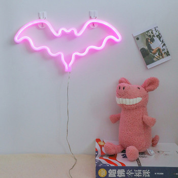 гирлянда neon night набор прихожая led pink 500 047 Led Neon Sign Light Halloween Bat Flamingo Neon Pink Holiday Xmas Party Wedding Decor Kids Room Night Lamp Wall Decor 9 Kind