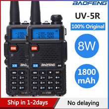 2 adet Baofeng UV 5R Walkie Talkie UV5R CB radyo istasyonu 8W 10KM VHF UHF Dual Band UV 5R iki yönlü telsiz avcılık için Ham radyolar