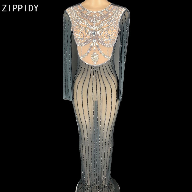 Silver Black Rhinestones Transparent Long Dress Women Dancer Prom Party Show Dress Bar Birthday Outfit Dress YOUDU