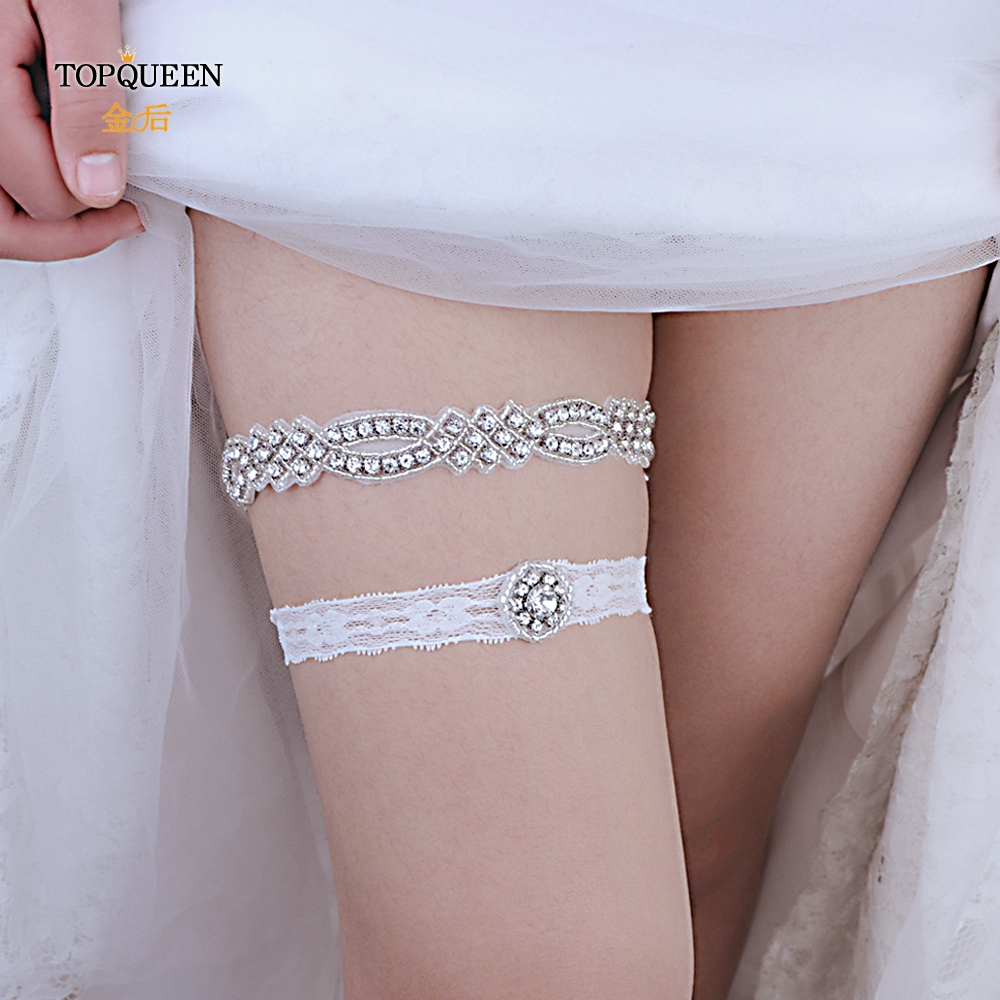 TOPQUEEN 2pcs/Set Wedding Garters Lace Rhinestone  Sexy Garters For Bride Girl Thigh Ring Bridal Ring Loop Leg Garte THS332 TH21