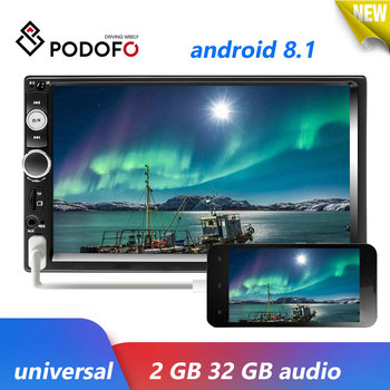 Podofo 2 Din Android 8.1 Car Radio Multimedia Player Audio Stereo Bluetooth 7 Autoradio Stereo MP5 Video Player For Universal image