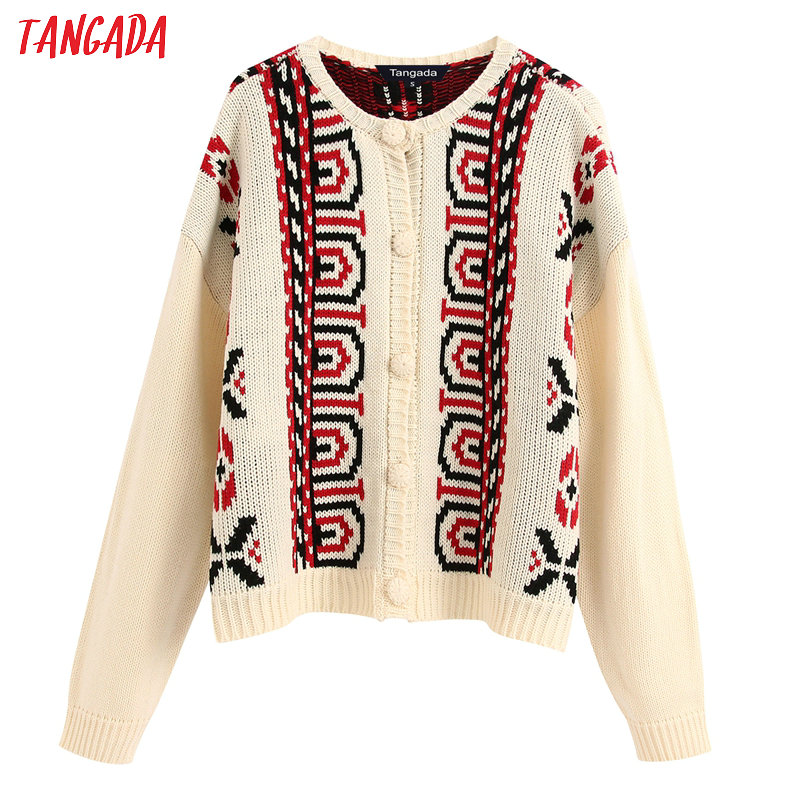 Tangada Women Elegant Vintage Style Cardigan Vintage Jumper Lady Fashion Oversized Knitted Cardigan Coat BE232