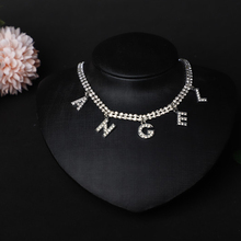 Crystal Angel Bitch Honey Letter Choker Necklace for Women Collar Femme Statement Punk Rhinestone Chain Necklace Gothic Jewelry new crystal rhinestone choker necklace women wedding accessories silver chain punk gothic chokers jewelry collier femme