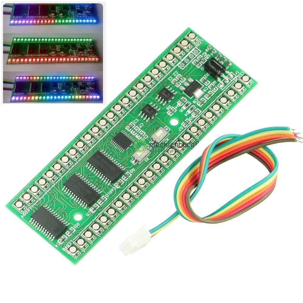 RGB MCU Display Pattern Dual Channel 24 LED VU Level Indicator Meter NEW