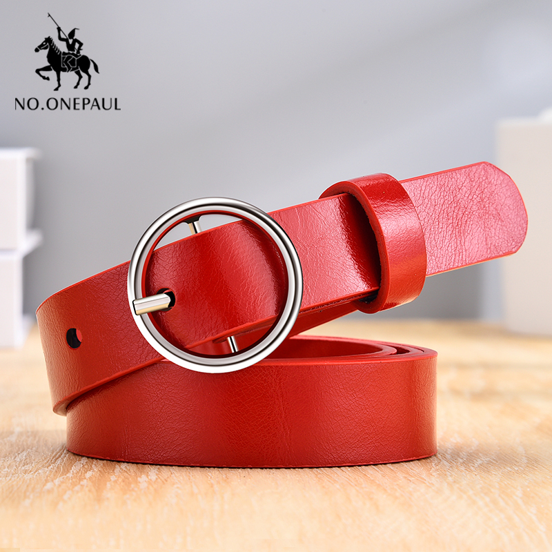 NO.ONEPAUL Ladies Belt Retro Cute  Fine Decorative Round Alloy Pin Buckle Waist Belt Soft Leather Material Dressing Occasion