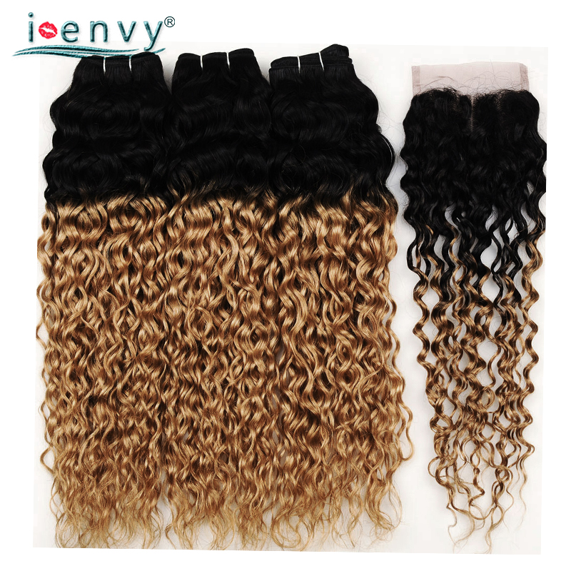 Ienvy 27 Ombre Blonde Human Hair Bundles With Closure Peruvian Hair Water Wave Bundles With Closure Colored Blonde Hair Non-Remy