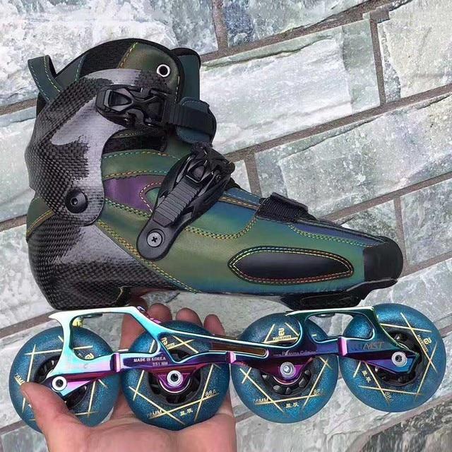 2020 reflektierende Carbon Slalom Inline Skates Kind Erwachsene Roller Skating Schuhe Schiebe Patines Ähnliche Mit SEBA IGOR KSJ