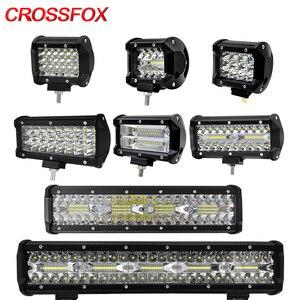 Image 1 - CROSSFOX Car 36W 60W reflektor roboczy 72W 120W LED 240W 300W Auto robocza listwa oświetleniowa na motocykl terenowy 4x4 poziomy ciągnik światło do łodzi