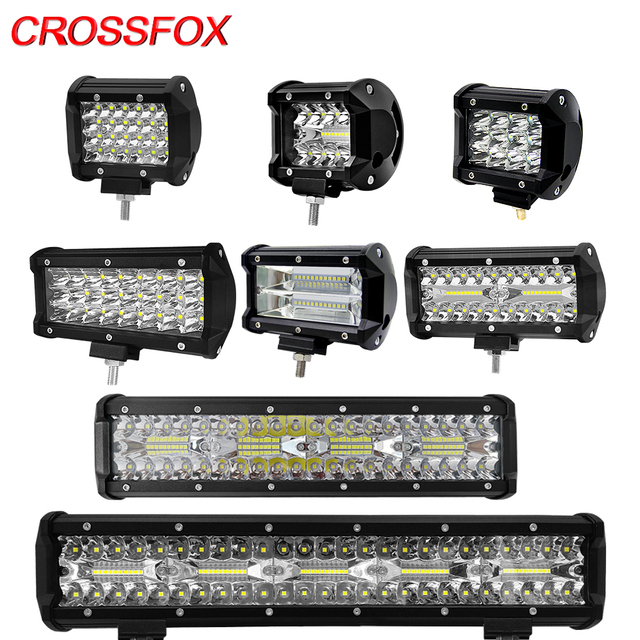 CROSSFOX Car 36W 60W reflektor roboczy 72W 120W LED 240W 300W Auto robocza listwa oświetleniowa na motocykl terenowy 4x4 poziomy ciągnik światło do łodzi
