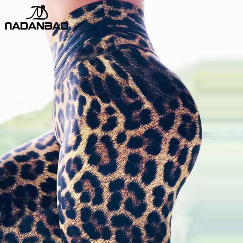 NADANBAO HOT Fashion Leopard Print Women Leggings Sporting Pants Fitness Slim Elastic Sweatpants Workout Push UP Legins