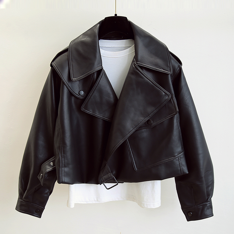 FTLZZ New Spring Women Faux Leather Jacket Biker Red White Coat Turndown Collar PU Motorcycle Jackets Loose Streetwear Outerwear