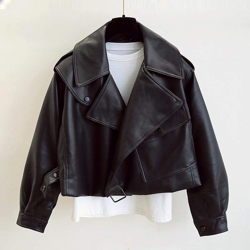 FTLZZ New Spring Women Faux Leather Jacket Biker Red White Coat Turndown Collar PU Motorcycle Jackets Loose Streetwear Outerwear