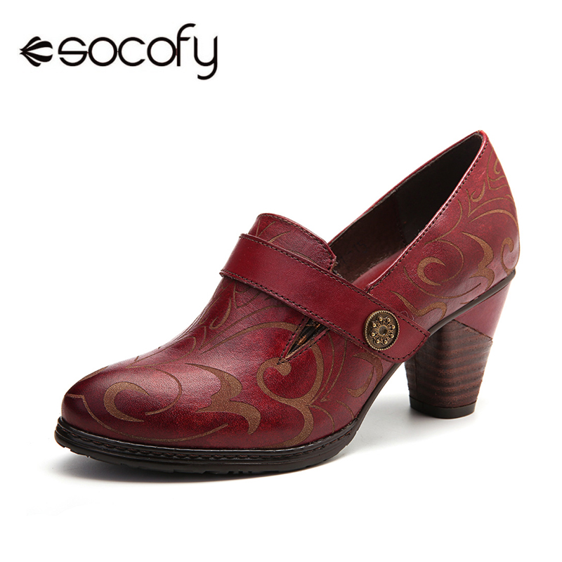 SOCOFY Retro Genuine Leather Pumps  Vine Pattern Solid Color Elegant Hook Loop Pumps Shoes Women High Heel Ladies Shoes