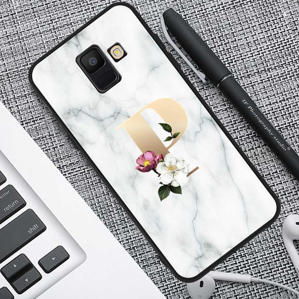luxury Custom letter marble flower Soft TPU Phone Case for Samsung Galaxy A3 A5 A6 A7 A8 A9 2018 Plus cover silicone tpu funda