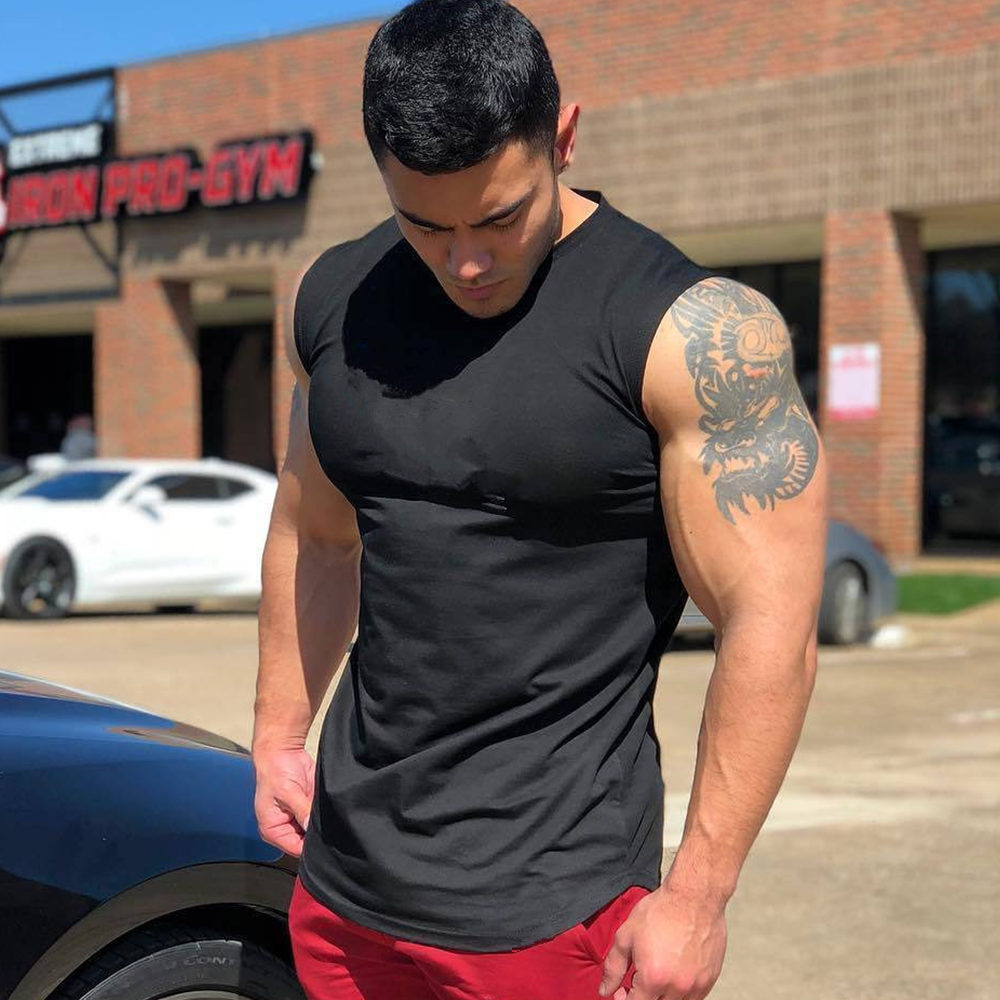 Gym Tank Top Men Fitness Bodybuilding Workout Cotton Sleeveless Shirt New Male Summer Casual Singlet Solid Vest Tops Undershirt