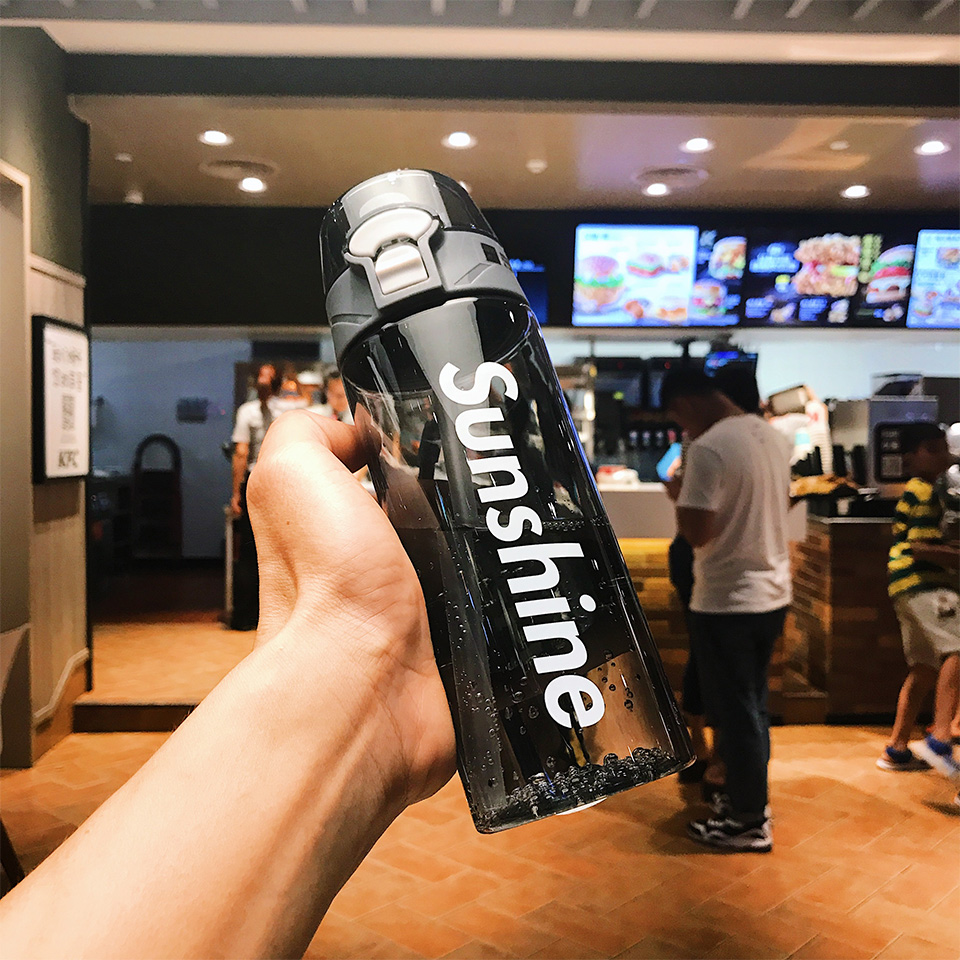 Hae7f4261355d4b76a9686914226a3f2eU Water bottle with straw Gym Sports Water Bottles 430ml 550ML Outdoor Portable Leakproof Tritan plastic Kids Straw cup  BPA Free