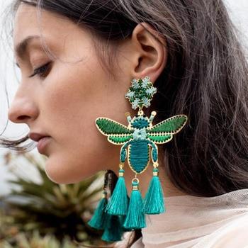 Boho exaggerated earrings creative women's earrings handmade winding insects tassel earrings wholesale 2019 new Fashion jewelry