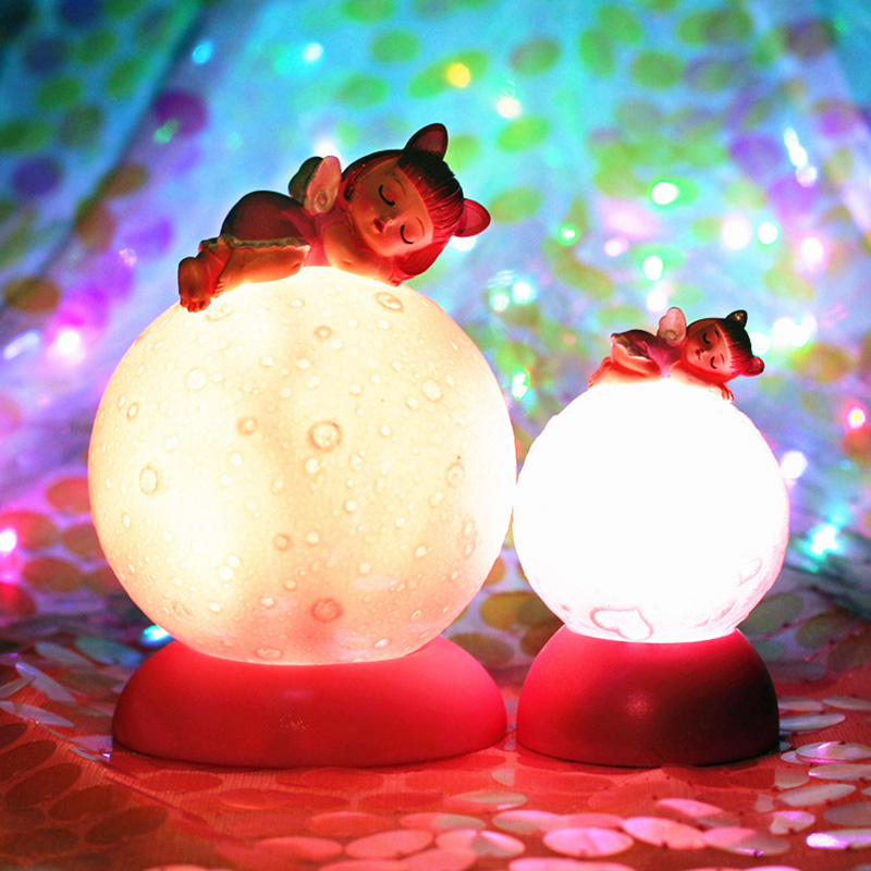 LED Cartoon Angel Planet Moon Novetly Light Resin Children Bedroom Decoration Birthday Christmas Gift Toy Lamp Light Fixtures