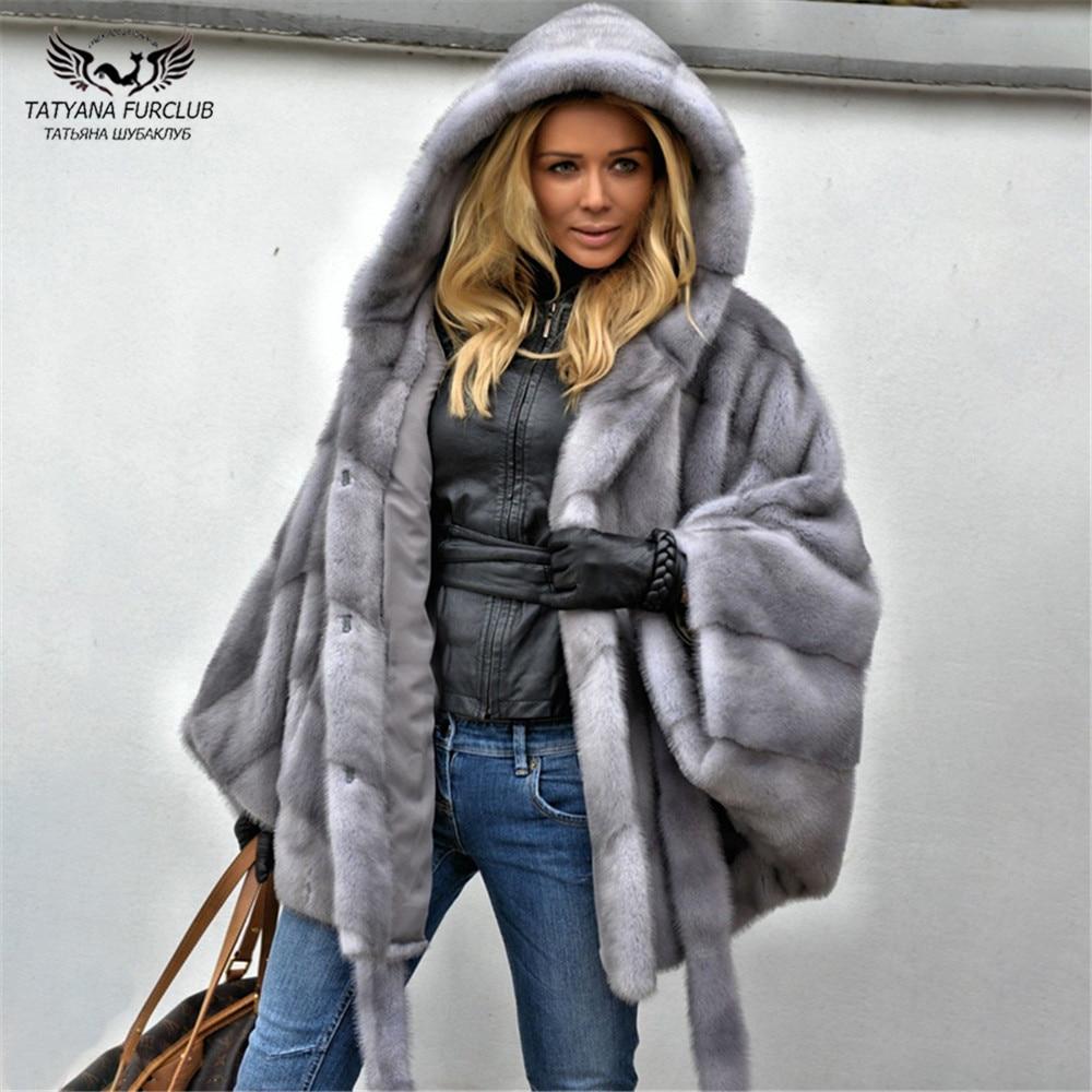Tatyana Furclub 2019 New Fashion Light Grey Mink Coat With Full Fur Hood Batwing Sleeve Winter Natural Fur Coat Women Large Size