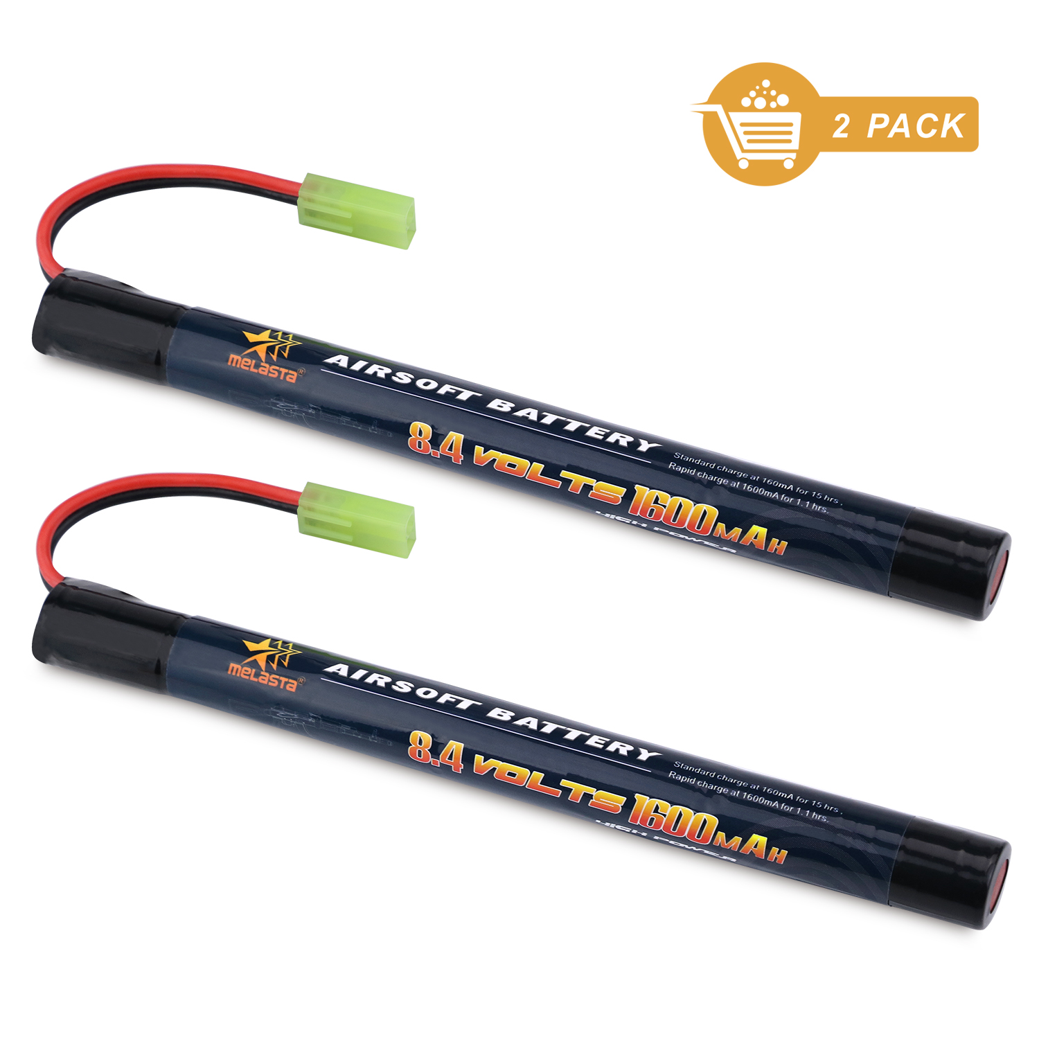 2PCS 7S 2/3A 8.4v 1600mAh Stick NIMH Airsoft Guns Battery Pack with Mini Tamiya Connector for Airsoft Mini AK series image