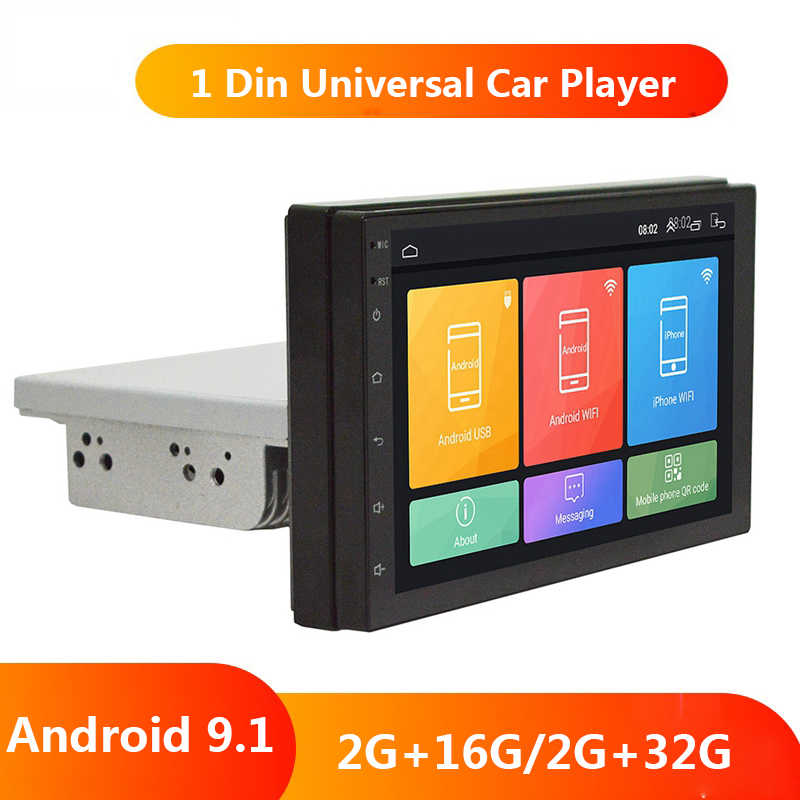 "7 ""1 Din Android 9.1 Car Radio Universal Quad Core Mobil Multimedia Layar Adjustable Player GPS Navigasi Auto Stereo akses Internet Nirkabel BT"