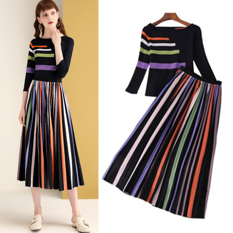 2 Pcs Spring Autumn Women New Clothing Set Knitted Tops Tees And Colorful Rainbow Stripped Pleated Long Skirt Suits NS174