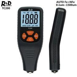 R & D TC200 толщиномер покрытия 0,1 микрон/0-1500 тестер толщины автомобильной краски для измерения FE/NFE русский ручной инструмент для краски
