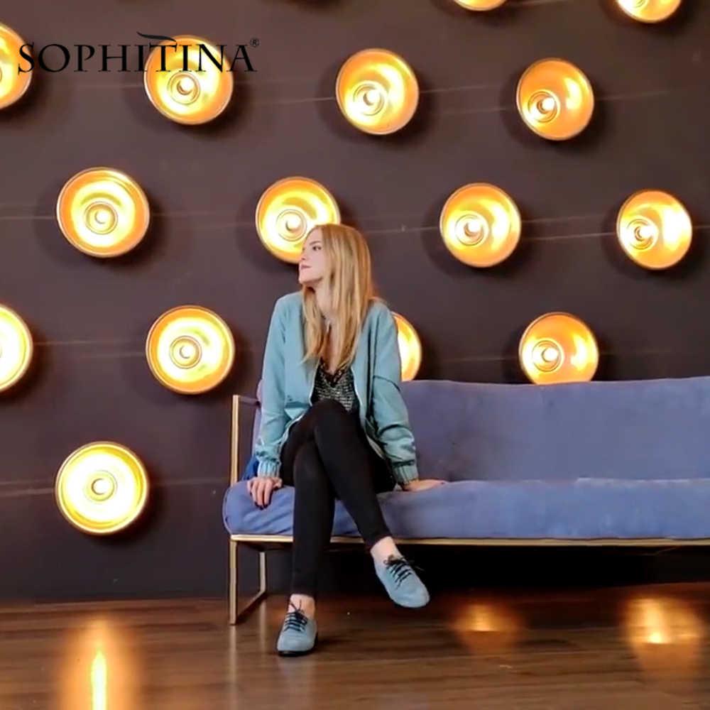 SOPHITINA kaliteli el yapımı Flats hakiki deri yuvarlak ayak dantel-up rahat Oxford kadın ayakkabı yumuşak düşük topuklu ofis bayan düz P61