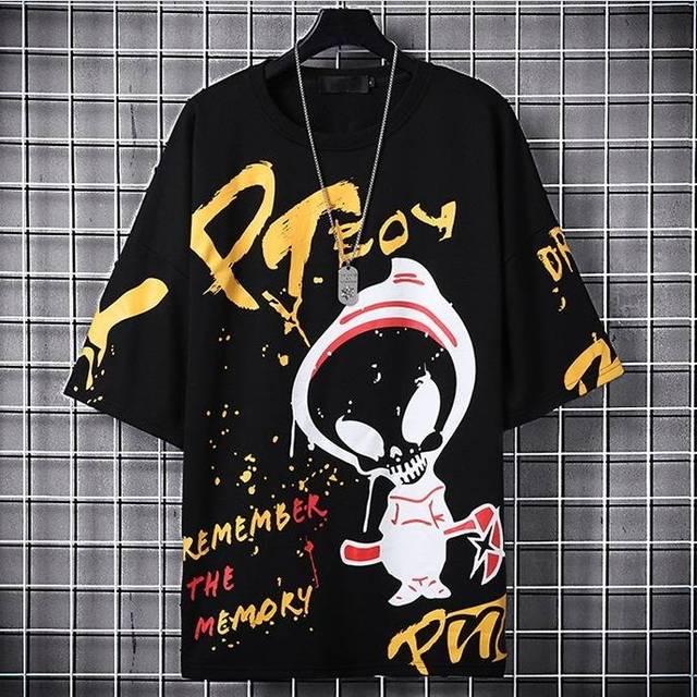 Camiseta de Hip-Hop coreana para hombre, Tops informales Harajuku, ropa de calle japonesa, camisetas con estampado de letras de calle para niño 1